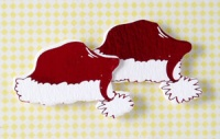 Santa Hat Red /White Foil Embossed Topper