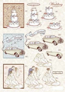 Wedding Cake Diecut Decoupage Sheet Line 841