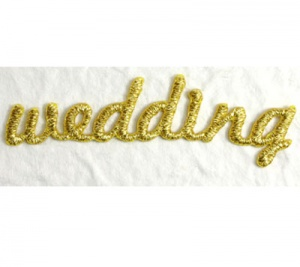 Wedding Gold Embroidery Word Self Adhesive Motif Syntego BN7048