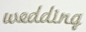 Wedding Silver Emboidery Word Self Adhesive Motif Syntego BN7047