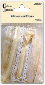 White & Cream Ribbons & Fibres Craftime Colour Connection AC0119W