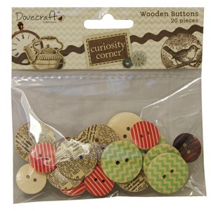 Wooden Buttons Curiosity Corner Dovecraft DCWB004